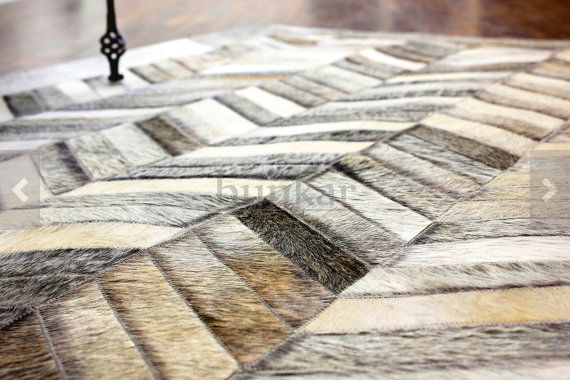 Grey chevron cowhide rug