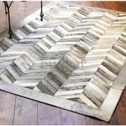Grey chevron cowhide rug