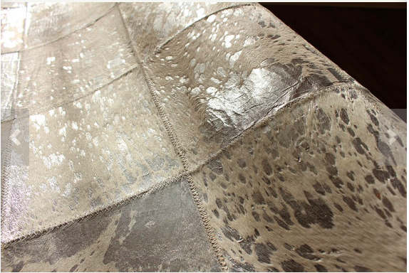 Metallic Patchwork Cowhide Rug Anima And Amare