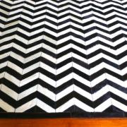 black and white chevron cowhide rug