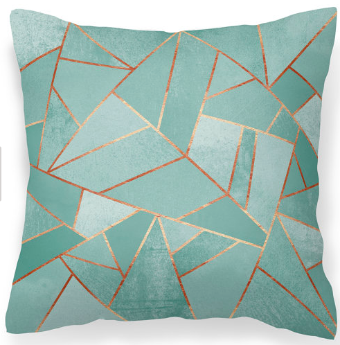 copper and duck egg blue suede cushion