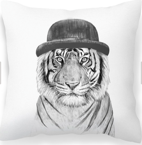 Tiger print cushion with bowler hat