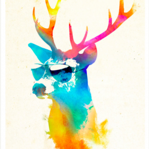 Sunny Stag Abstract Colour Print