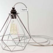 Premium Chrome Vintage Industrial Diamond Pendant Wire Cage Lamp