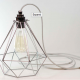 Premium Chrome Vintage Industrial Diamond Pendant Wire Cage Lamp
